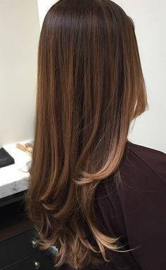 The talented colorist Evelyn Bilauca shares this gorgeous picture of a brunette hair color she did using the balayage method. Balayage means hand painting on the color and not using foils. The tech...