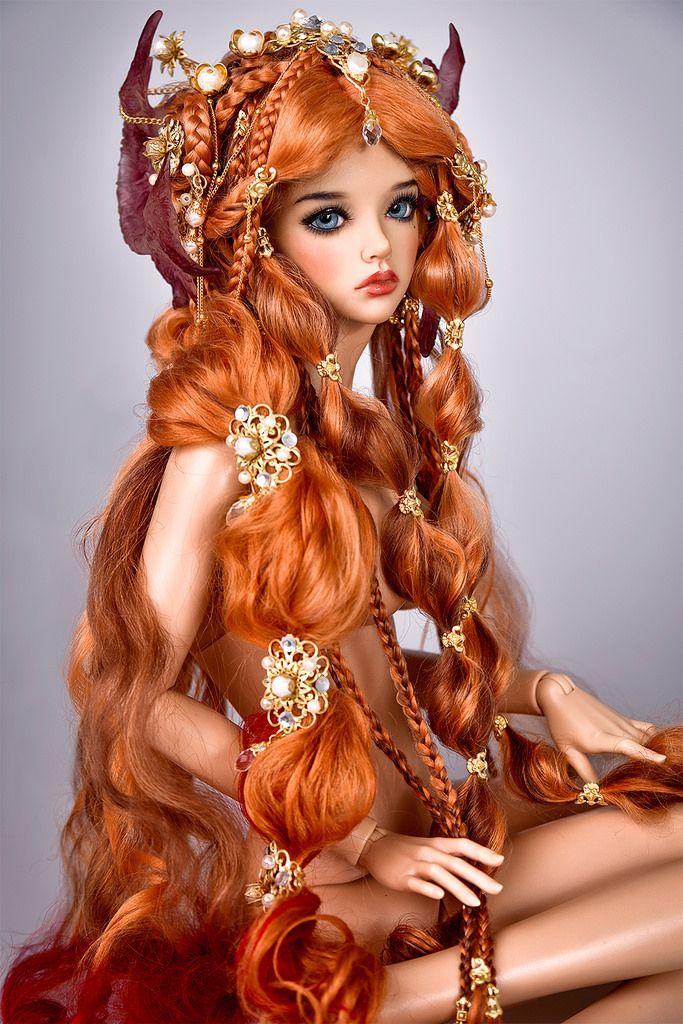 BJD art doll - read hair, braids                                                                                                                                                                                 Plus