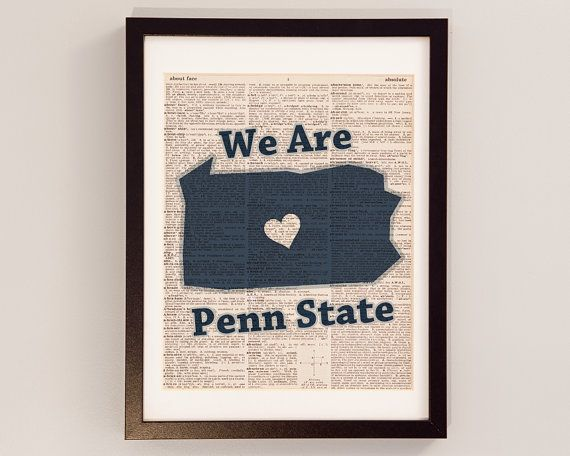 Penn State Dictionary Art Print - PSU Nittany Lions - Print on Vintage Dictionary Paper - We Are Penn State - State College, Pennsylvania