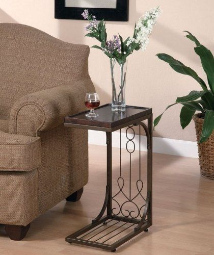 Coaster 900280 Snack Table with Burnished Copper Base, Brown by Coaster Home Furnishings. $42.00. Beautiful scroll design. 16L x 9W x 22.5H. Traditional style. Snack table with a brown finish top and burnish copper finished base.