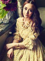 2017 летняя мода slash шеи многослойный шифон цветок dress тонкий эластичный пояс желтый богемия печати puff рукавом beach dress