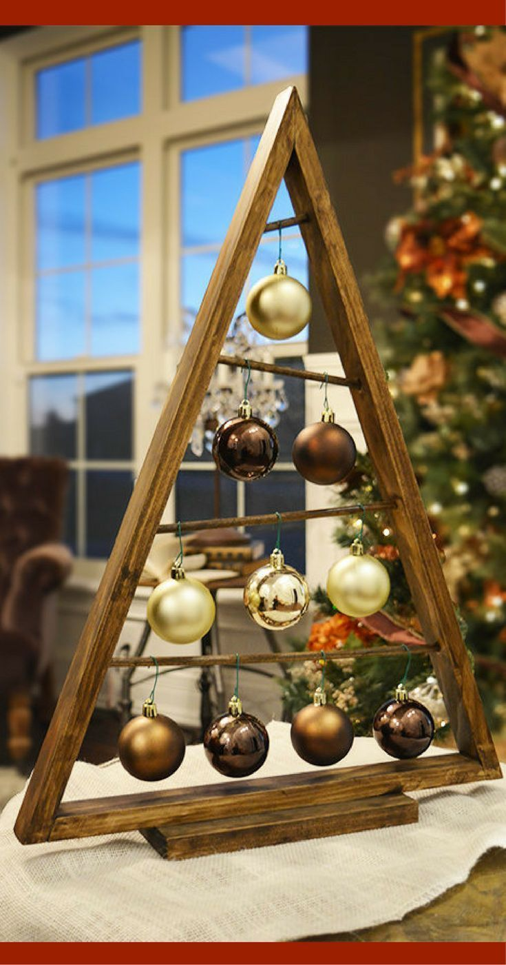 Rustic Wood Christmas tree that's over 2 feet tall!  Love this as an extra spot for Christmas bling!  Rustic Stained A-frame Christmas Tree Ornament Display, Christmas Ornament Hanger, Rustic Christmas decor, Christmas decorations #ad