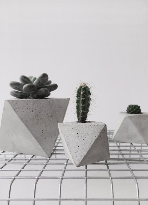 Octahedron concrete planter in small handmade by frauklarer