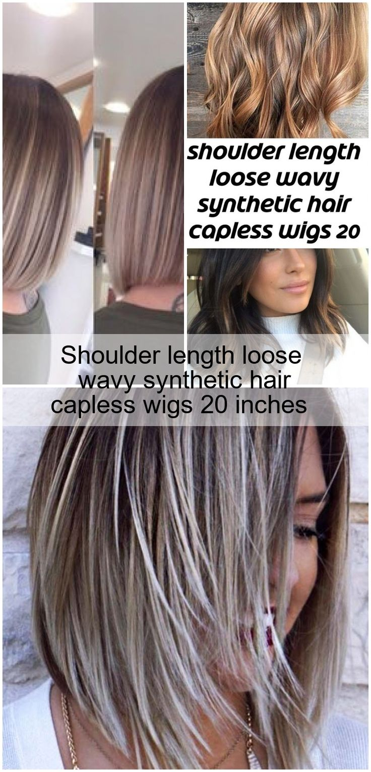 Shoulder length loose wavy synthetic hair capless wigs 20