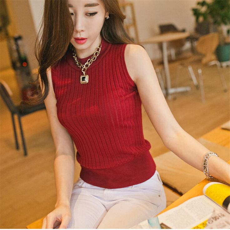 Knitted Cotton Striped Women's Tanks High Neck Sleeveless Women Fashion Tank Top Girls sexy Summer White Black Vest