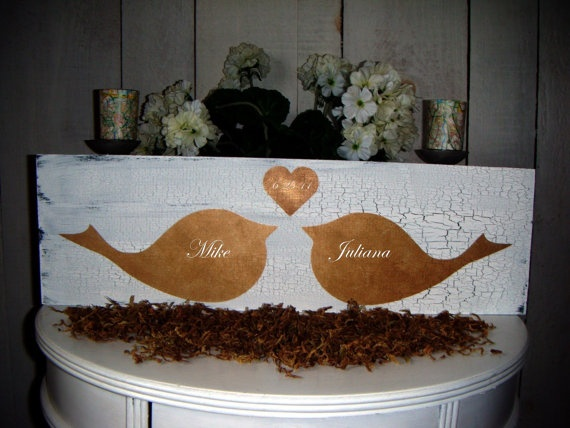 Shabby Chic Wedding sign Engagement Announcement by AndTheSignSays, $49.99