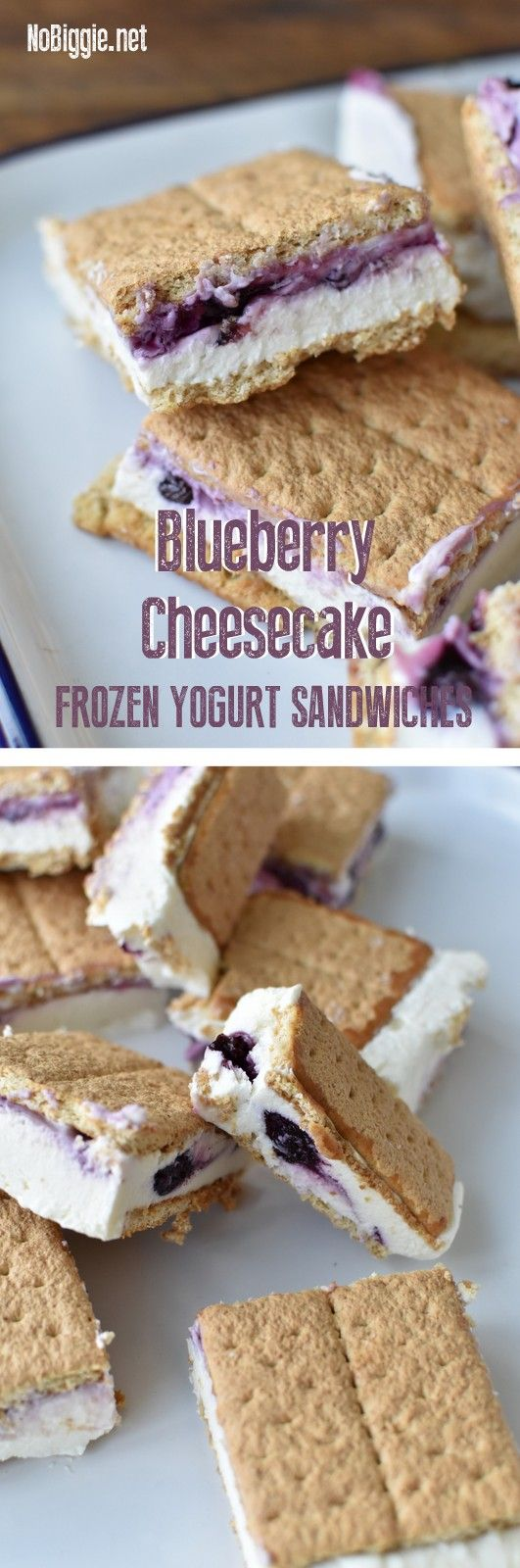 Blueberry Cheesecake Frozen Yogurt Sandwiches