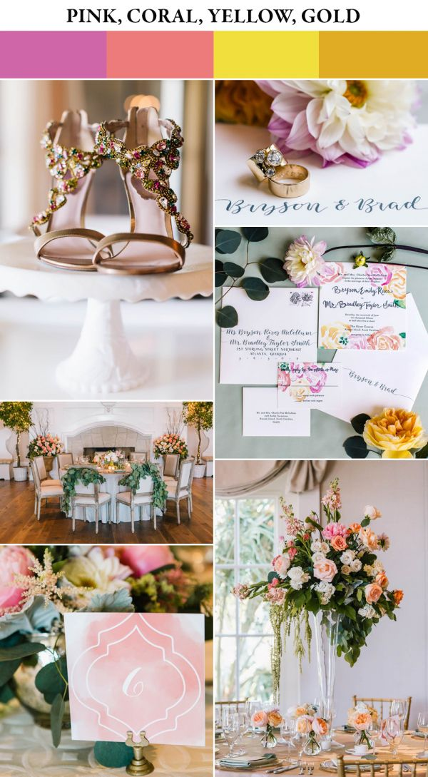 Pink, coral, yellow and gold spring color palette | Image by Vue Photography