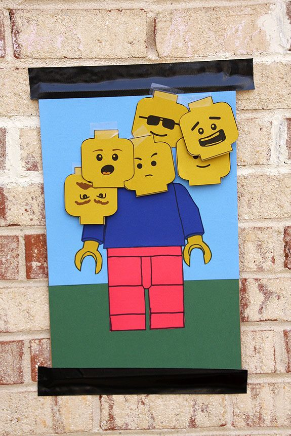 Pin the Head on the Lego Man.  printable heads                                                                                                                                                                                 More