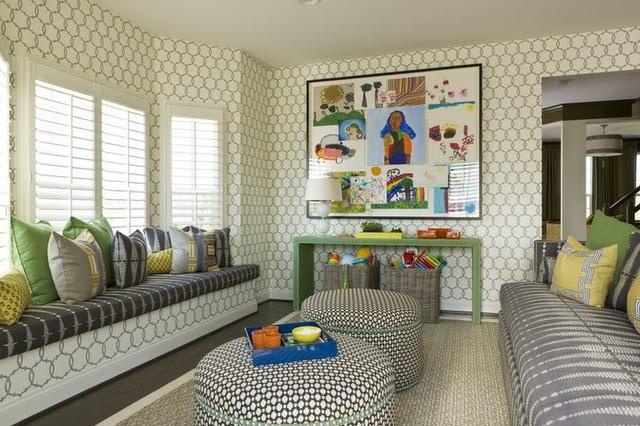 fun colorsKids Playrooms, Kids Pics, Art Pattern, Windows Seats, Colors Pattern, Art Display, Child Art, Kids Artworks, Playrooms Art