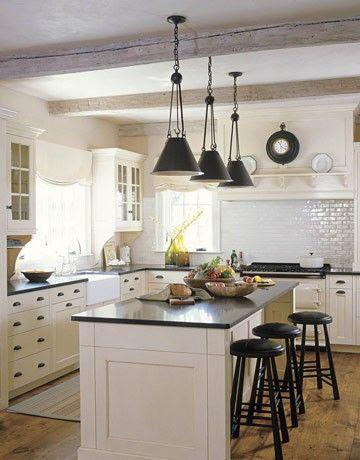 White kitchenLights Fixtures, Subway Tile, Beams, Kitchens Ideas, Islands, Pendants Lights, Farmhouse Kitchens, White Cabinets, White Kitchens