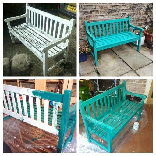 Bench painted using Annie Sloan Florence chalk paint. Two coats, no wax.