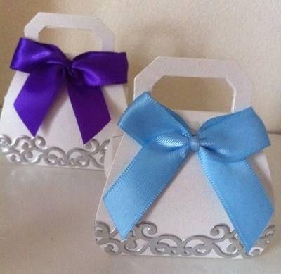 Handbag Wedding Favour with Satin Ribbon Bow from Sweet Memories UK.