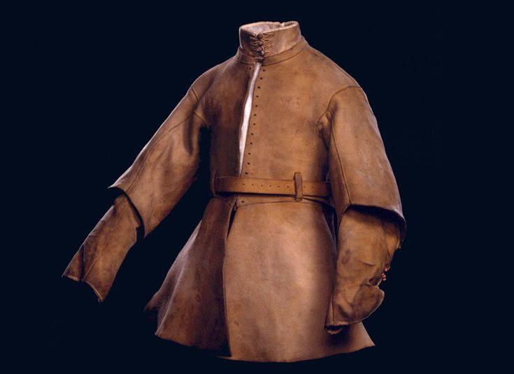 https://www.royalarmouries.org/learning/online-learning/littlecote-house-module/explore-littlecote-house-without-flash/great-hall-in-littlecote-house/buff-coats-and-baldricks . Buff coat. English, about 1630, possibly for Alexander Popham. Royal Armouries III.1956a.