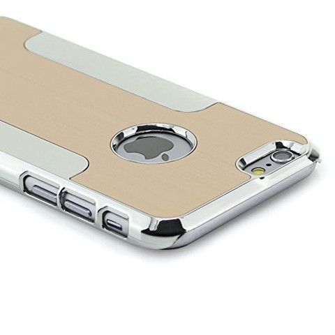 Apple iPhone 6/6s Brushed Aluminum Ultra-Thin Metal & Plastic Bumper Case Cover - Gold