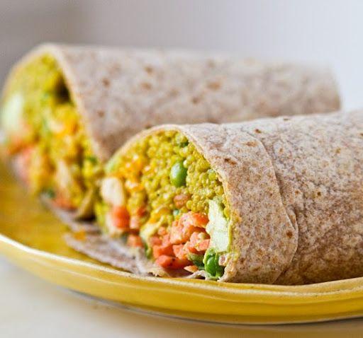 Curried Quinoa Wrap with Avocado-Citrus Slaw and spring peas!