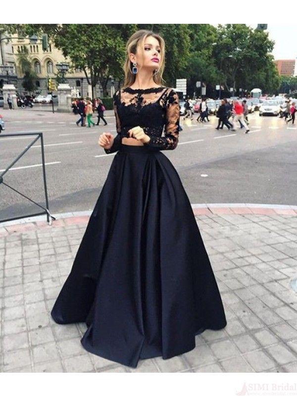 black lace prom dresses,prom dresses long,two piece prom dress,#simibridal