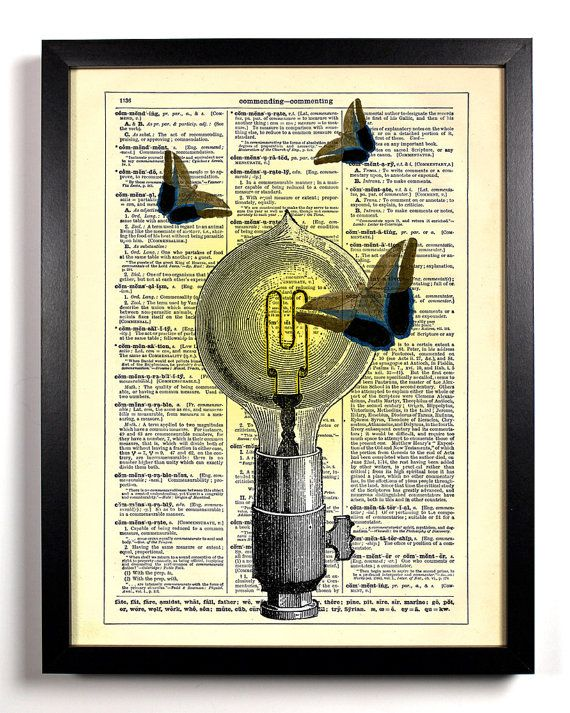 Repurposed Book Upcycled Dictionary Art Vintage Book Print Recycled Vintage Dictionary Page Like A Moth To A Flame Bulb
