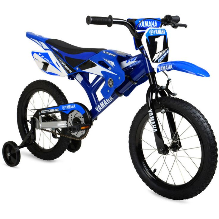 "Little ones will ride off to exciting adventures on this 16"" Moto Yamaha Bike. It features motocross-style fenders with authentic Yamaha graphics and a motocross saddle seat that adds some extra style to this riding machine. 