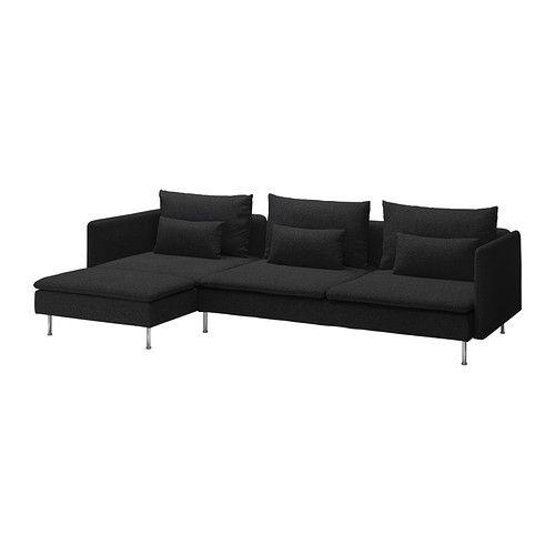 SÖDERHAMN Divano a 3 posti e chaise-longue - Ullevi grigio scuro  - IKEA