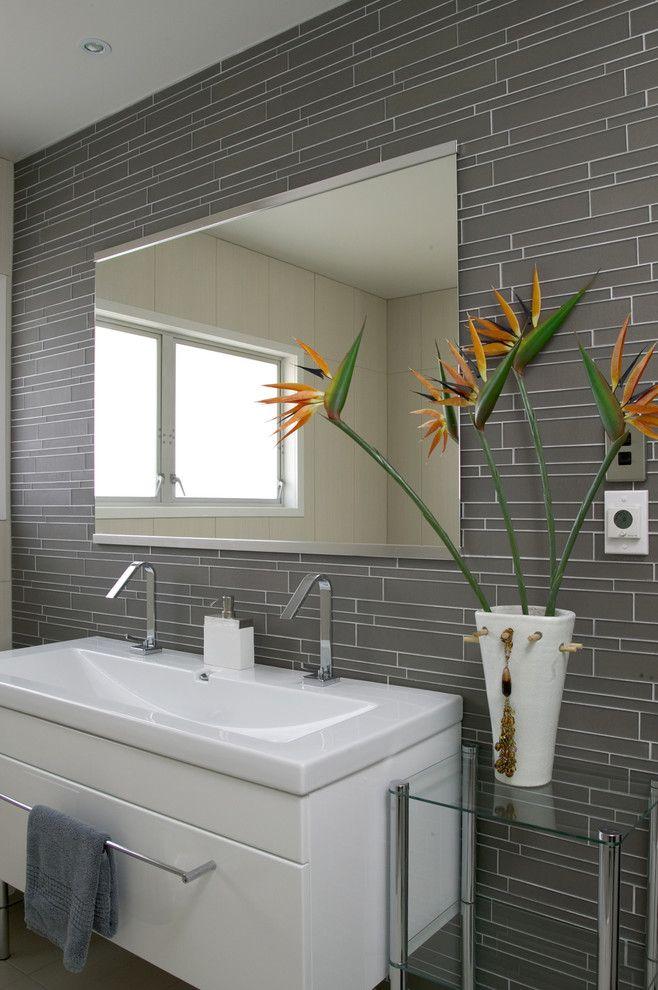 Island Stone Smoke Linear Glass Bathroom - modern - bathroom tile - other metro - Island Stone