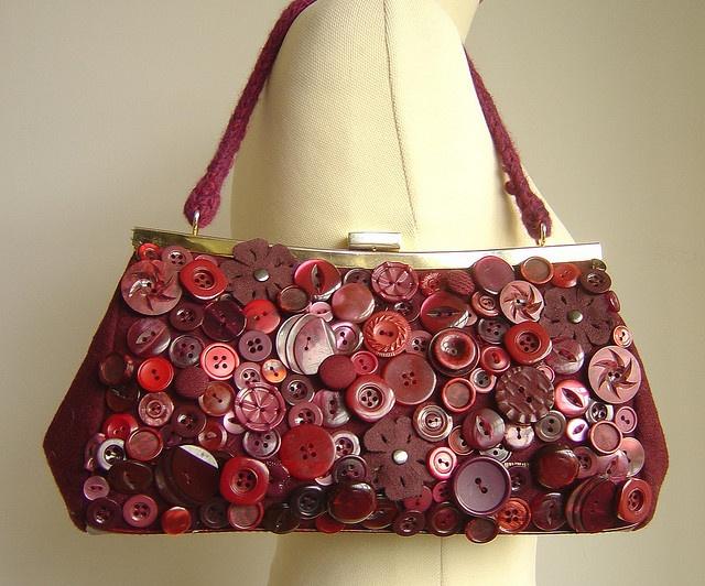 ButtonArtMuseum.com - pre-loved woollen bag, vintage buttons, hours of work. beautiful!