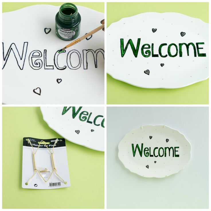 Diy Welcome op porselein schilderen - uitleg - Welkom tekst of welcome (in engels) is altijd leuk om te hebben als decoratie thuis. Je kunt het in de hal, bij de voordeur of in de woonkamer hangen. Welkom zie je bijna in elk huis ook op diverse manieren, zoals: bij de deur op de deurmat, langs de voordeur op een houten bord, binnen bij de keuken of in de hal in letters op de muur geschilderd of met stickers enz. Maar ook een leuke en makkelijke manier is beschilderd op een porseleinen bord…