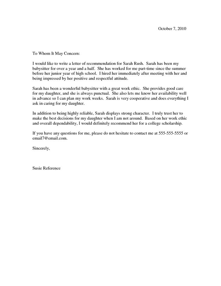 Letter Of Recommendation For A Highschool Student From A Teacher ...