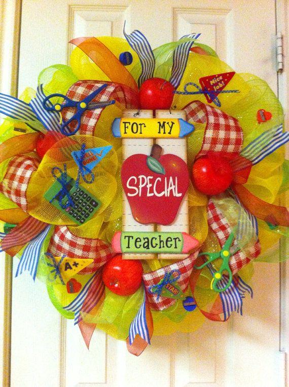 Deco Mesh Teachers Wreath by DebbiesDoorDelights on Etsy, $65.00