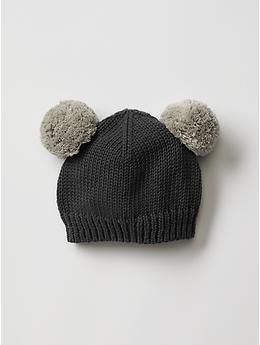 Bear pom-pom hat from Baby Gap!                                                                                                                                                                                 More