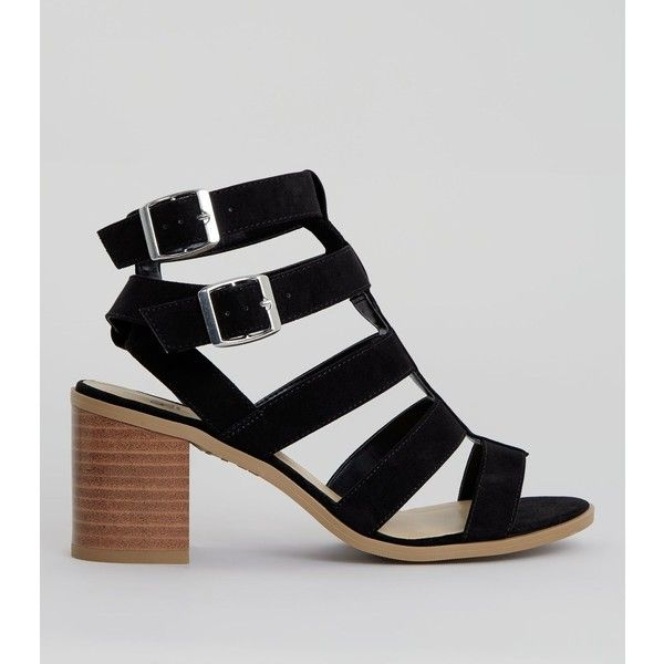 New Look Teens Black Suedette Multi Strap Sandals (£23) ❤ liked on Polyvore featuring shoes, sandals, black, kohl shoes, low block heel shoes, new look shoes, new look sandals and open toe shoes
