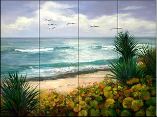This beautiful artwork by Laurie Snow Hein has been digitally reproduced for tiles and depicts a gorgeous beach scene.  Beach scene tile murals are great as