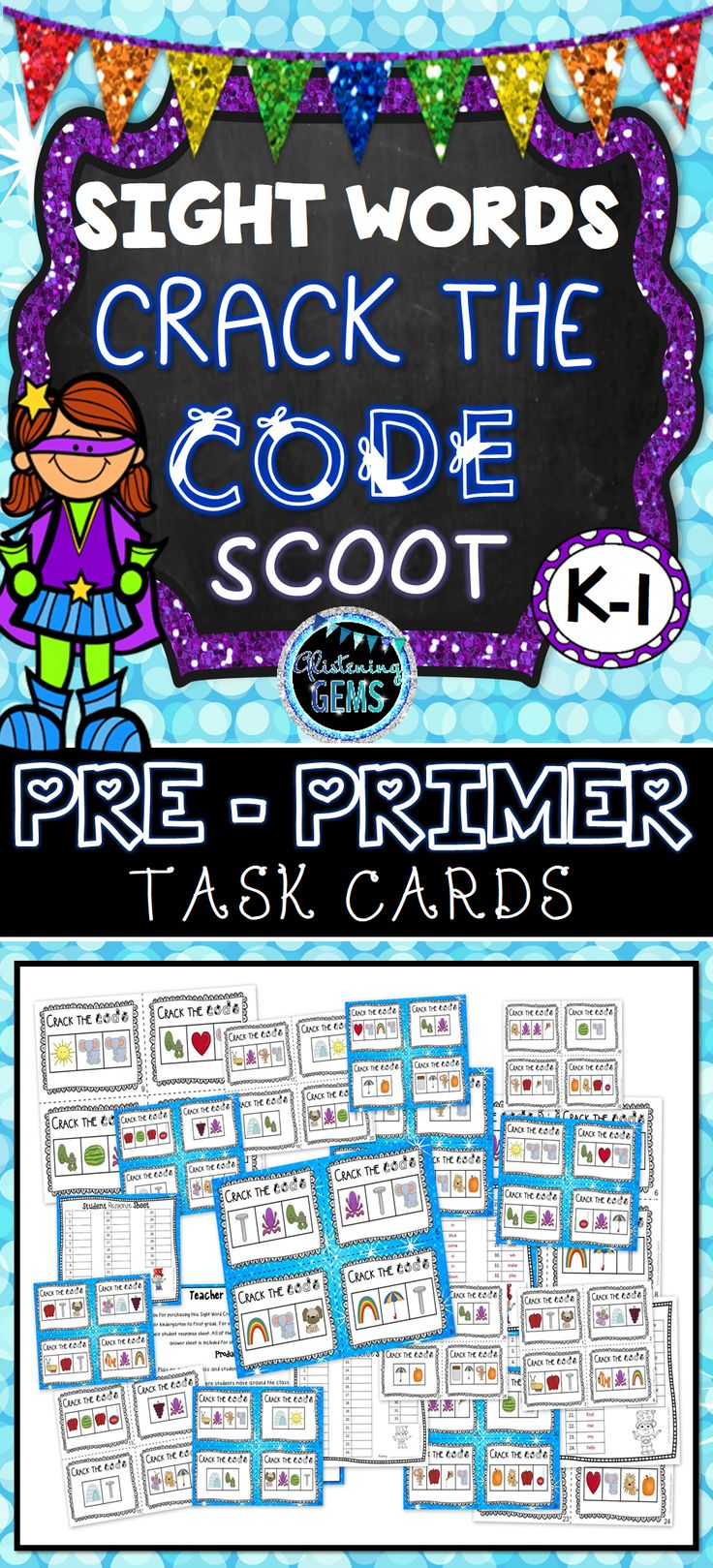 Pre-Primer Sight Word Task Cards {Scoot} - Crack the Code - K-1