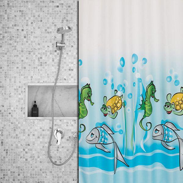 Een badkamer vol vissen en ander zeeleven, dit zorgt voor een vrolijke en gezellige badkamer.
