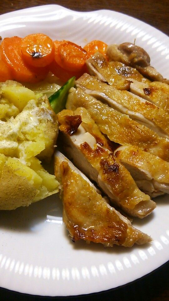 Homemade roast chicken and veggies.
