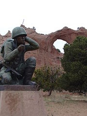 400 Native American Marines who served in the United States Marine Corps whose primary job was the transmission of secret tactical messages. Code talkers transmitted these messages over military telephone or radio communications nets using formal or informally developed codes built upon their native languages. Their service improved communications in terms of speed of encryption at both ends in front line operations during World War II