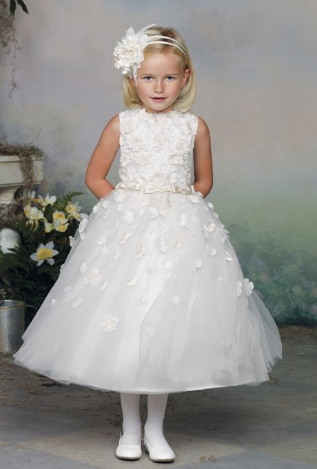 Brides: Joan Calabrese for Mon Cheri. Romantic, satin, tulle, and taffeta jeweled ball gown. Sleeveless, featuring tea-length hemline.www.cameobaby.com