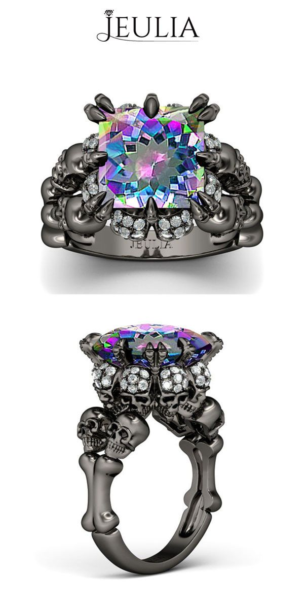 Princess Cut Rainbow Diamond Rhodium Plated Sterling Silver Four-Skull Design Skull Ring #jeulia