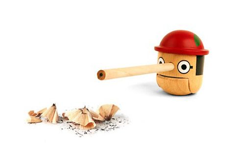 Pinocchio-inspired pencil sharpener
