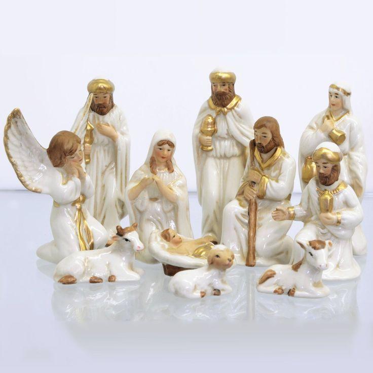 Set 11 figuras decorativas cerámica Navidad nacimiento Belén blanco-dorado | eBay