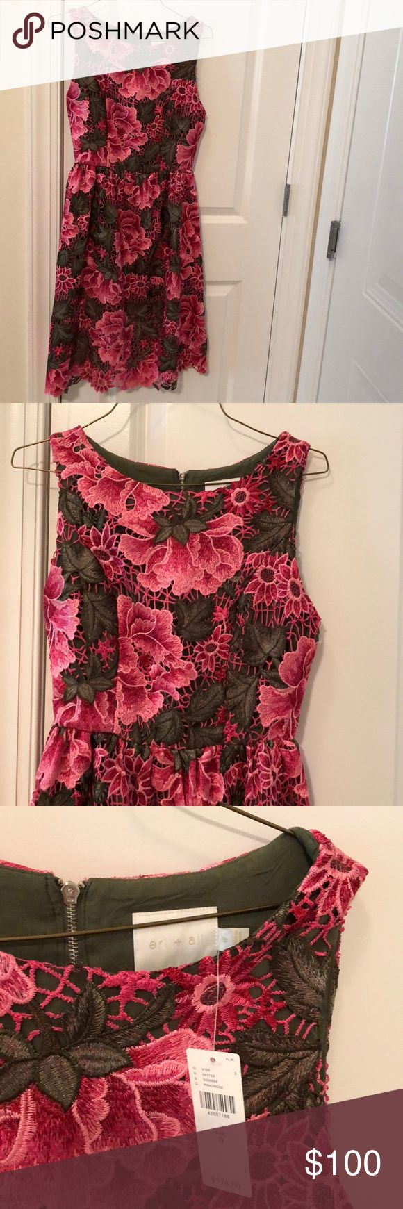 NWT Anthropologie Dress (0) Gorgeous! Anthropologie - Lalia Lace Dress (eri + ali)  Beautiful deep pink floral crochet/knit pattern over a deep olive green base. Eye-catching!   New with tags - I have 2 and ONE of them has about a 2-inch section on back that appears to have rubbed against something dark/some thread pulls. See the 3rd to last photo. Dress design makes it blend in.  Size - 0  Care - hand wash cold, line dry  Offers welcome! Anthropologie Dresses Midi