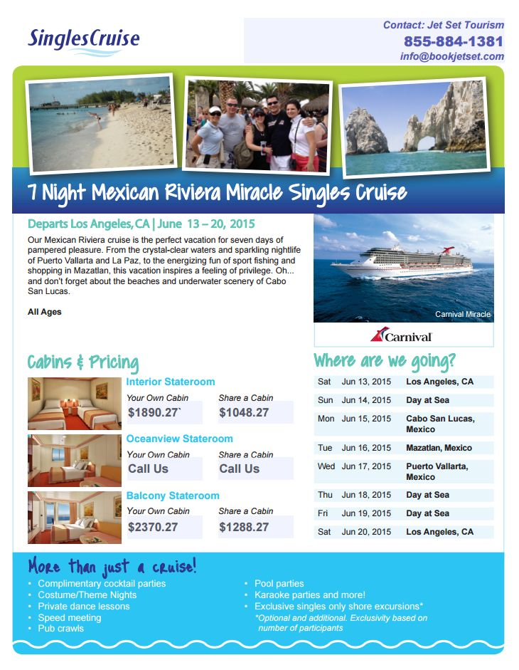 CALLING ALL SINGLES! Summer Cruise the Mexican Riviera...!