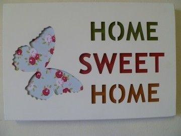 """Clayre & Eef tekstbord """"Home Sweet home"""" vlinder"""