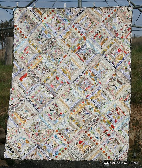 Low Volume Quilt by goneaussiequilting, via Flickr