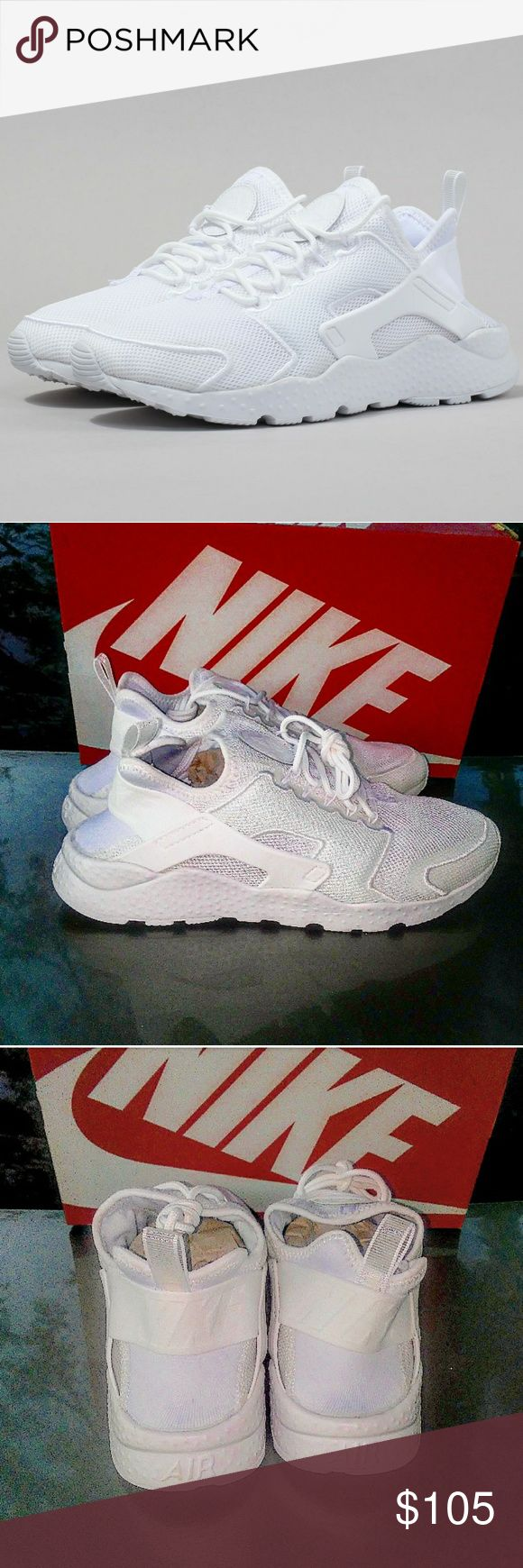 Womens Nike Air Huarache Ultra Br (Size 9) Brand new in box 100% authentic Excellent condition Size 9 women White w/ a hint of glacier blue colorway Ships doubled boxed Secured packaging  Crispy white shoes for the holidays. Get Snowman fresh for the holidays. A nice ugly 🎅 Christmas sweater, jeans and fresh white on white huaraches will make the cycle complete. Nike Shoes Sneakers