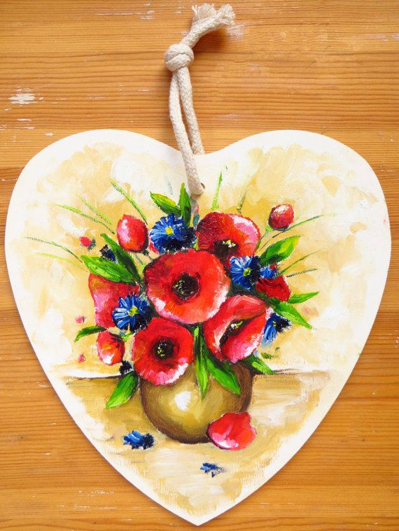 Poppies and Cornflowers Wooden Heart Home Decor Flowers #popiesoilpainting, #oilart, #homedecor, #mikimayo