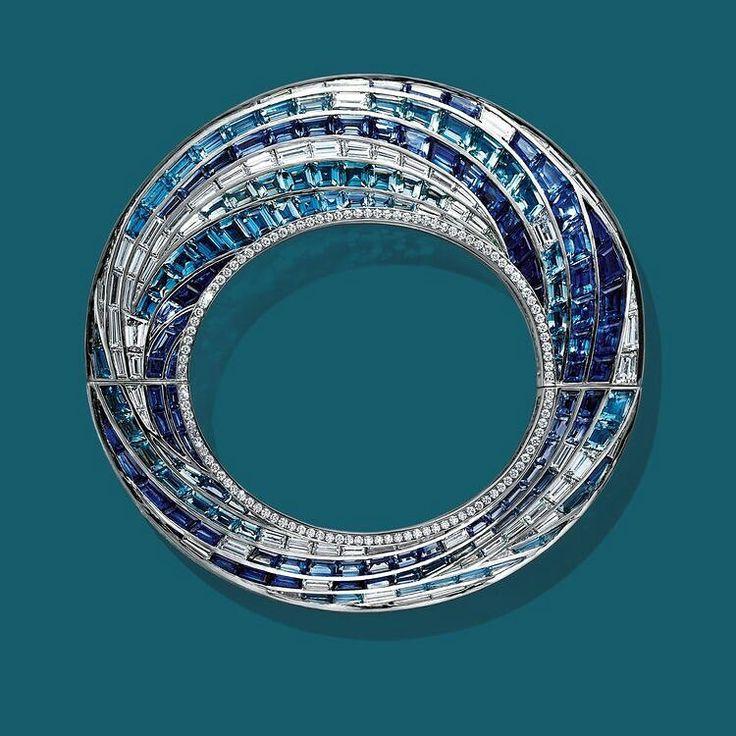 A beautiful #diamond and multicolored #gem bangle, by @tiffanyandco