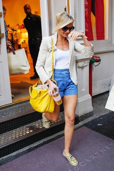 As a blonde good idea to look at other blondes - love the bright bag and interesting espadrille lace ups - blazer with shorts/jeans even though they might be a bit short for you liking