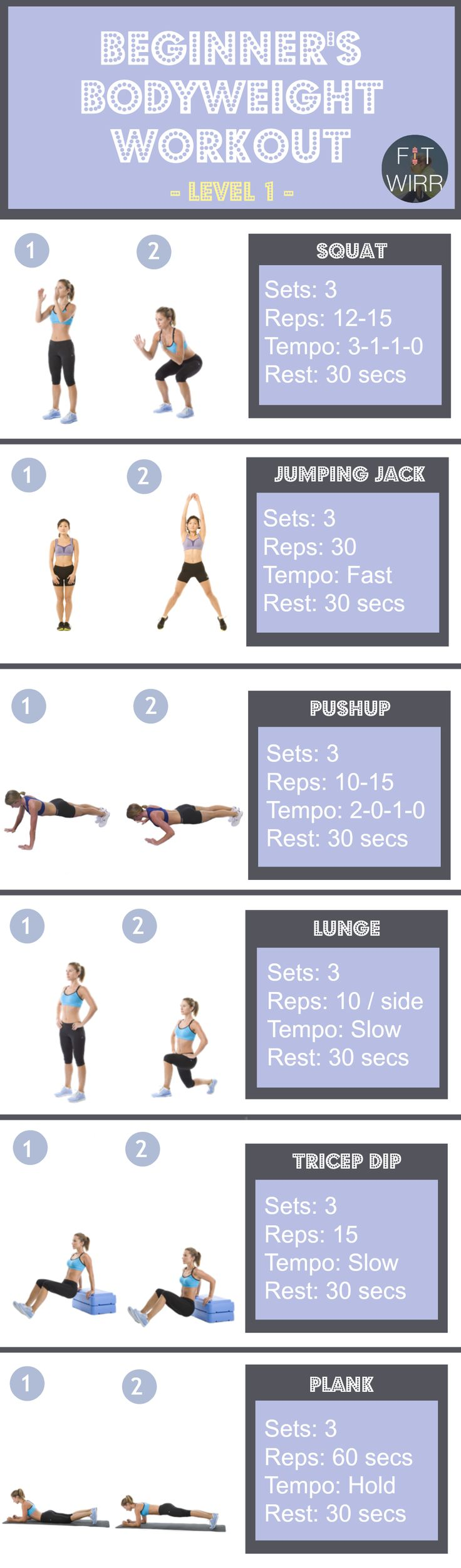 Basic Body Weight Exercises for Beginners - Level 1. No gym or fitness equipment required for this body weight workout. Perfect to kick start your fitness. Download it for free.