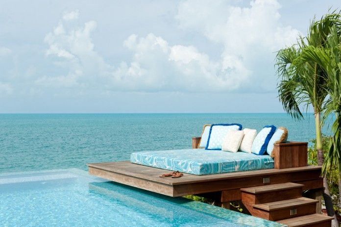 Daybed outside by ocean